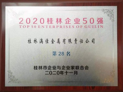 "Guilin Lijia awarded ""2020 Top 50 Enterprises of Guilin"""